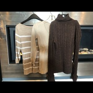 Sweaters - 3 sweaters brown and tan, small size